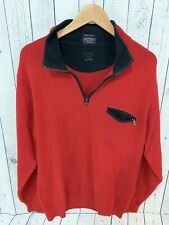 PAUL & SHARK YACHTING Wool 1/4 Zip Pullover Sweater Red Size Large Made In Italy
