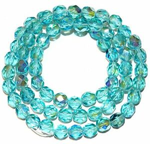 CZ3121 Light Aqua AB Blue 6mm Fire-Polished Faceted Round Czech Glass Beads 16""