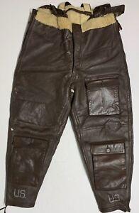 Original WWII USN M446B Winter Shearling Flight Trousers, Size 38