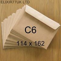 C6 A6 100gsm BROWN KRAFT ENVELOPES FOR CARD SMALL PAPER WEDDING CRAFT MAKING LOT