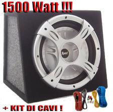 """SUBWOOFER AUTO 10"""" ATTIVO BOOMBOX 1500 WATT 25 CM. CON KIT CAVI COMPLETO!!!"""