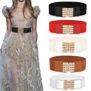 Women Square Rhinestone Wide Fashion Belt Black Cinch Waist Belt Elastic Stretch