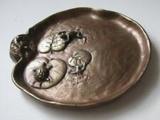 Antique Bronze Art McClelland Barclay Lilly Pad Turtle Lizzard Frogs Dish Plate