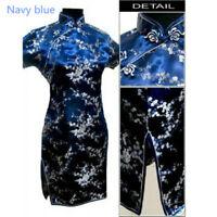 Women Short Sleeve Chinese Floral Print Bodycon Evening Party Cheongsam Dress