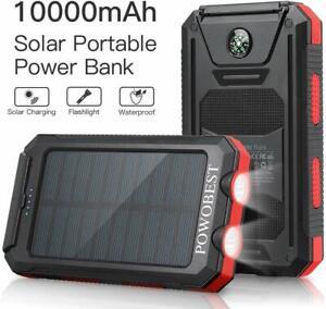 Dual USB Portable Charger Solar Power Bank, Waterproof,Flashlight & Compass