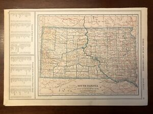 1927 South Dakota Map New World Atlas and Gazetteer