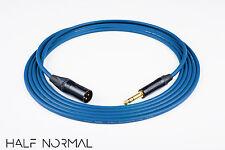 "2' Foot Mogami 2534 Quad Balanced Cable Neutrik Gold XLR Male to 1/4"" TRS Blue"