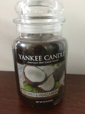 YANKEE CANDLE 22 OZ LARGE JAR COCONUT & VANILLA BEAN PARAFFIN CANDLE FOOD SPICE