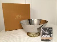 """New in Box MICHAEL ARAM Medium """"Wheat Bowl"""" Footed 10"""" Stainless Steel Bowl"""