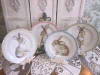 "BRAND NEW 222 Fifth BUNNY LAND Set of 4 SALAD DESSERT PLATES 6"" EASTER SPRING"