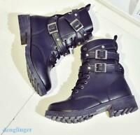 Women Military Combat Mid Calf Motorcycle Lace Up Ankle Boots Black Buckle Strap