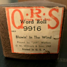 "RARE BOB DYLAN ARTIFACT - 1963 ""BLOWIN' IN THE WIND"" -QRS Player Piano Roll 9916"