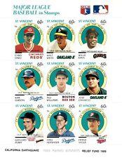 St. Vincent 1989 SC# B11 MLB Baseball Willie Mays Earthquake OVPT Sheet of 9 MNH