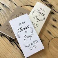 Wedding Tissue Packet. Personalised Happy Tears favor. Tears of Joy Sleeve