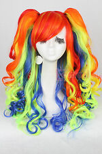75cm long mix color rainbow Lolita with clip ponytails curly cosplay wig ZY63B