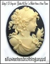 2 Lovely IVORY color GODDESS & DOVE on BLACK 40mm x 30mm Costume Jewelry CAMEOS