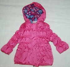 TODDLER Girls PUFFY Hooded WINTER COAT Jacket PINK PLATINUM Flower Lined 12 Mo