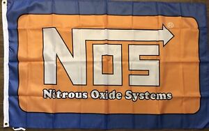 NOS Flag 3X5 Nitrous Oxide Systems Banner Drag Racing Car Show  Man Cave