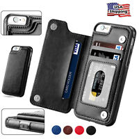 For iPhone 6 7 Plus Wallet Card Slot Case Leather Shockproof Magnetic Flip Cover