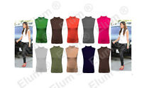 Ladies Polo Neck Womens Sleeveless Stretch Turtle Neck Jersey Basics Top 8-26