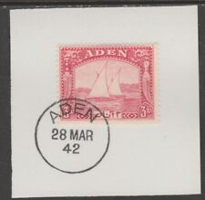 909518  ADEN 1937 DHOW  3a  on piece with  MADAME JOSEPH FORGED POSTMARK