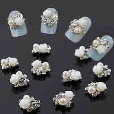 10pcs 3D Alloy Jewelry Nail Art  Rose Flower Crystal Rhinestone Pearl Decoration