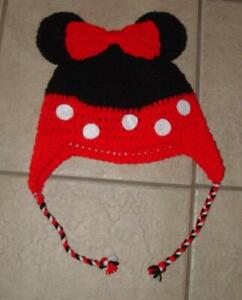 Choose MICKEY OR MINNIE MOUSE Black & Red Crocheted Homemade Hand Knit Cap Hat