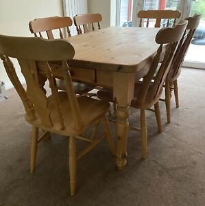 6 seater solid wooden rustic farmhouse kitchen dinning table and 6 chairs