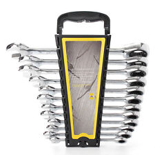 12PCS Gear Wrench Spanner Ratcheting Ratchet Combination Set Kit CRV + Bracket