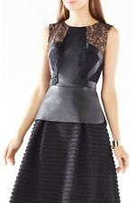 NWOT BCBG MAX AZRIA Laine Lace Blocked Faux Leather Peplum Top Size XXS Black