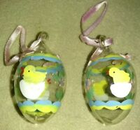 Vintage Hand Blown Glass set of 2 Easter eggs