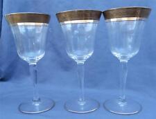 3 Vintage Tiffin Gold Encrusted Crystal Wine Optic Glasses Unusual Pattern EUC