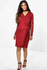 BNWT Boohoo Wine Red Long Sleeved Lace MATERNITY Wrap Dress Size 8