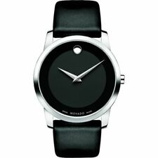 Movado Museum 0606502 Classic Stainless Steel Watch with Black Leather Band