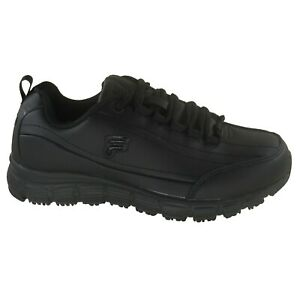 Womens Fila Memory Radiance Slip Resistant Work Shoes Black WIDE Width