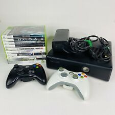 Microsoft Xbox S Console 250GB HDD 10 Games 2 Controllers Cords Bundle TESTED