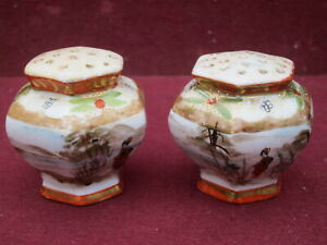 RARE ! ANTIQUE JAPANESE SATSUMA KUTANI SALT AND PEPPER SHAKERS COVERED VASES
