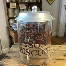 More details for vintage edwardian shop glass advertising biscuit jar from wright & sons –