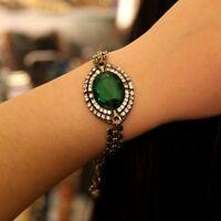 Bracelet Doré Ovale Vert Vintage Ancien Style Original Soirée Pavé CT5