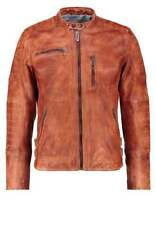 New Pepe Jeans HOWARD Leather Biker Jacket Coat Smart Brown / Tan Small BNWT