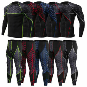 Mens Compression Tight Base Layer Long Under Shirt&Pants Sport Suit Set Gym Legg