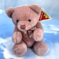 """Vintage 1989 Dakin 14"""" Mauve Fully Jointed Teddy Bear w/ Satin Bow Pink Rosewood"""