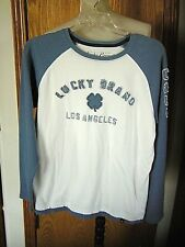 LUCKY BRAND--L/S-BLUE/WHT-JERSEY-LOGO SHIRT-COTTON/POLY BLEND-BOYS L-EUC