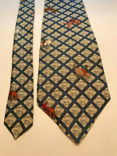 """Tobasco Men's Tie Brown & Cream Cowboy Design 100% Silk W 4"""" L 58"""""""
