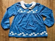 Mini Boden Baby Blue Embroidered Floral Smock Top Newborn - 18-24 Months