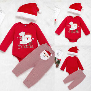 Baby Boy My First Christmas Outfit Suit Hat Romper Pants Set Santa Claus Clothes