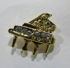 "Pin Gold Tone w/Rhinestones .5"" X .5"" Luperla Mini Grand Piano Tie Tac or Hat"