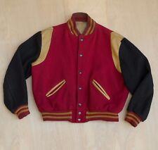 vtg 50s 60s Howe varsity jacket letterman red black gold wool leather L/XL SHORT