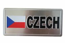 CZECH REPUBLIC COUNTRY FLAG-SILVER LICENSED STICKER FLAG PLATE..SIZE: 6 X 3 INCH