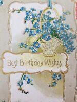 Best Birthday Wishes Floral Blue Flowers Vintage Embossed Postcard P1B